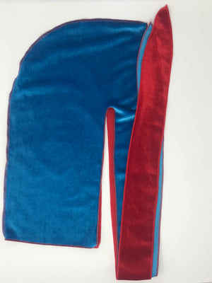 Light Blue x Apple Red 2 Tone Velvet Durag