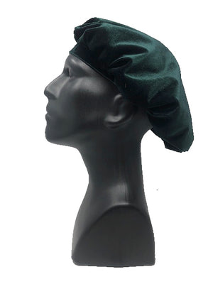 Dark Green Velvet Bonnet