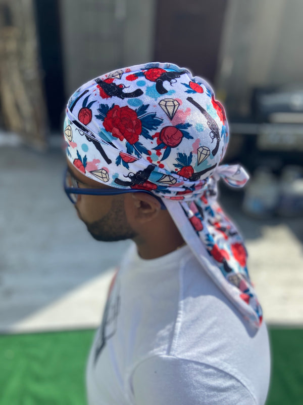 "Double R Exclusive ""Gunz and Roses"" Velvet Durag"