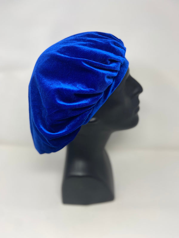 Royal Blue Velvet Bonnet