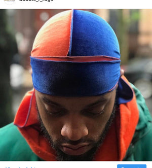 Royal Blue x Orange 2 Tone Velvet Durag