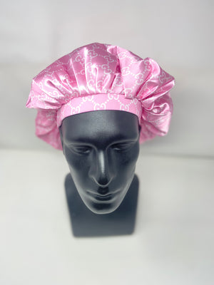 His and Her Pink Designer Bonnet and Skull Head Wrap Set