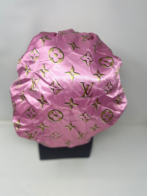 Pink and Gold Silk Designer Bonnet