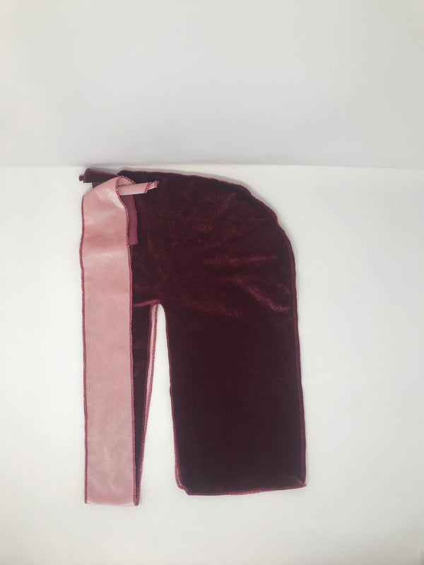Light Pink x Plum 2 Tone Velvet Durag