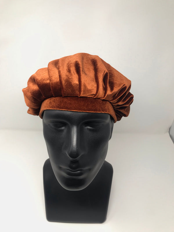 Copper Brown Velvet Bonnet