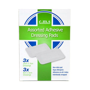 6 Assorted Adhesive Dressing Pads