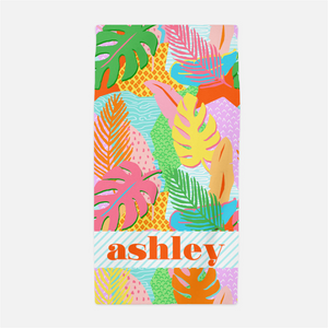 Vivid Jungle Personalized Beach Towel, Daybreak