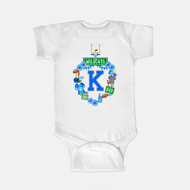 **SALE** Kentucky Custom Football Crest One Piece Body Suit, Size 6M