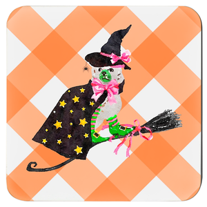 Staffie Witch Coasters - Set of 4 - Three Colors Available