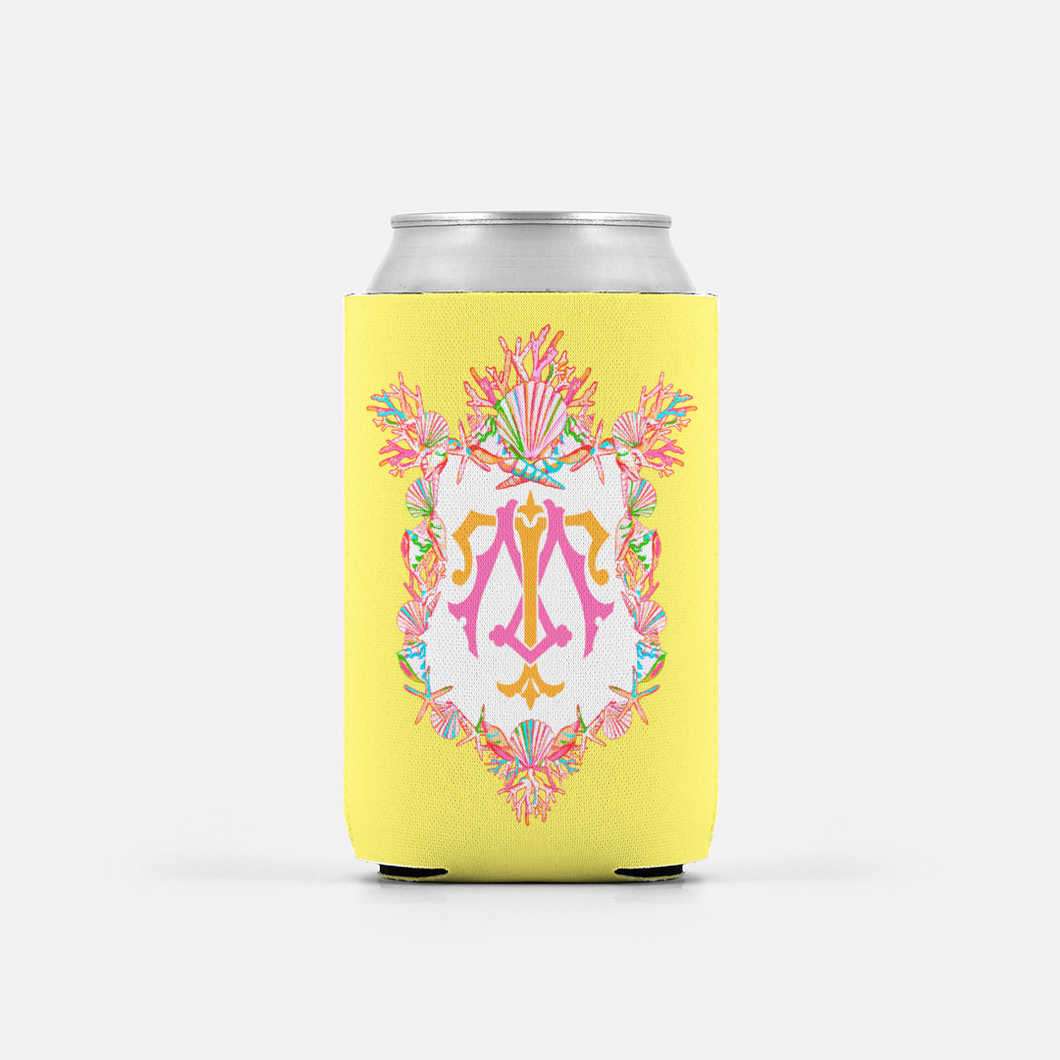Set of (2) Seashell Crest, Calypso, Personalized Can Coolers