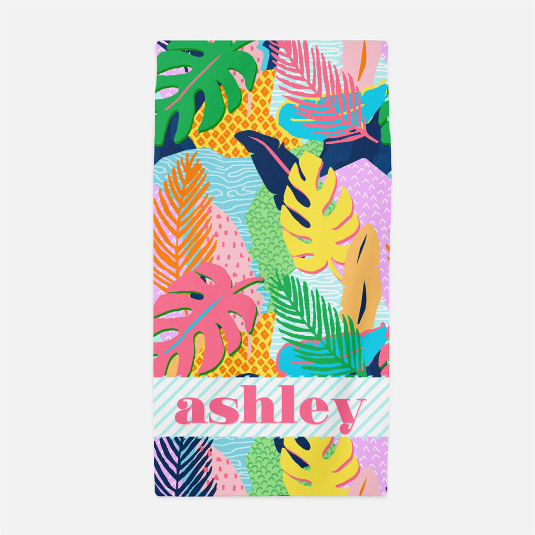 Vivid Jungle Personalized Beach Towel, Nightfall