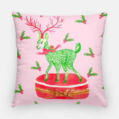 Limoges-Inspired Fishnet Reindeer Holiday Pillow Cover, Peppermint
