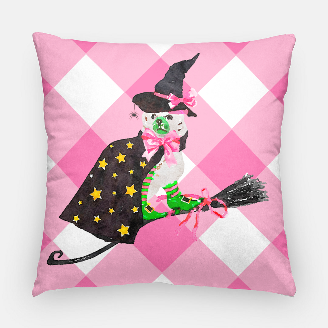Staffie Witch Halloween Pillow, 3 Colors Available