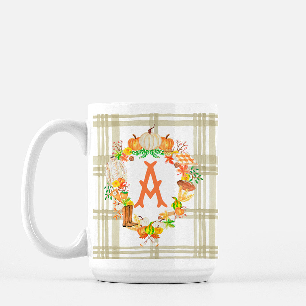 **SALE** Fall Custom Crest, A Initial, Porcelain Mug, 15oz.
