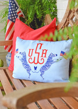 "Load image into Gallery viewer, Red, White & Zebras Personalized 14""x20"" Pillow Cover"