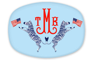 Red, White & Zebra Personalized Melamine Platter