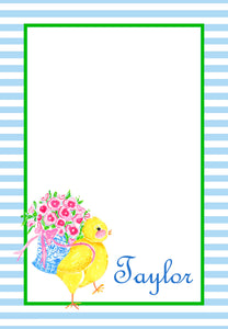 Chinoiserie Chick Personalized Easter Notepad; Multiple Sizes Available, Blue