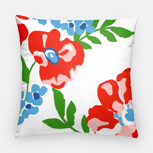 "Patriotic Picnic Personalized Floral 20""x20"" Pillow Cover"