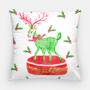 Limoges-Inspired Fishnet Reindeer Holiday Pillow Cover, Snow