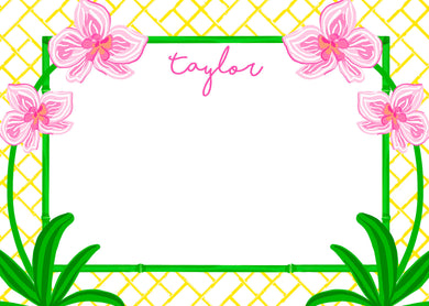 Pink Orchid Flat Note Cards