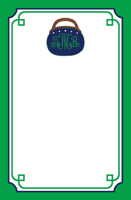 Bermuda Bag Personalized Notepad, Navy & Green, Multiple Sizes Available