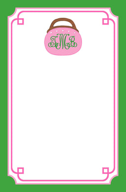 Bermuda Bag Personalized Notepad, Pink & Green, Multiple Sizes Available