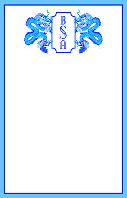 Dragon Crest, Lapis, Personalized Notepad, Multiple Sizes Available