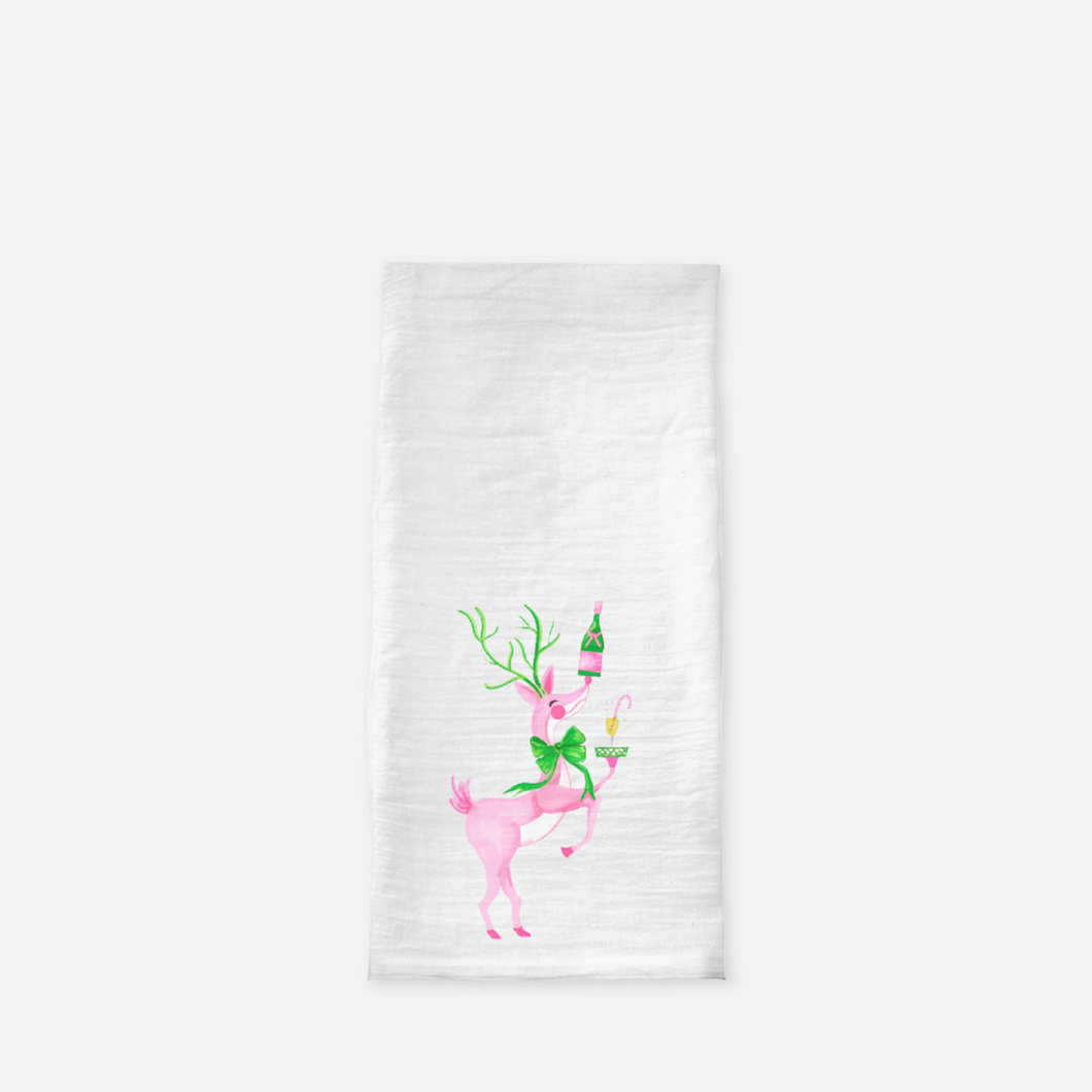Christmas Cocktails Holiday Flour Sack Tea Towel