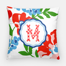 "Load image into Gallery viewer, Patriotic Picnic Personalized Floral 20""x20"" Pillow Cover"