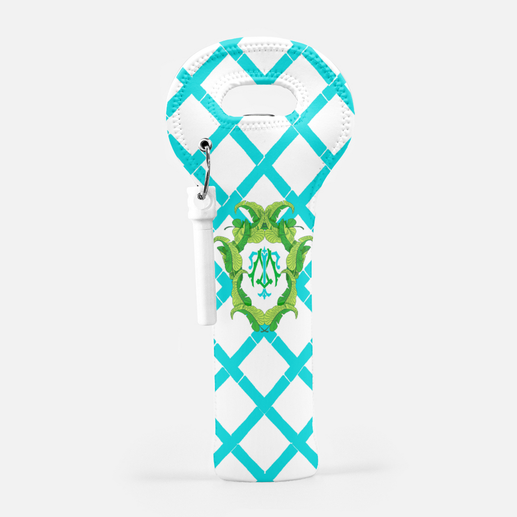 Banana Leaf Crest, Caribbean, Wine Carrier with Cork Screw