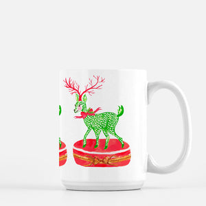 Limoges Christmas Reindeer Holiday  Porcelain Mug