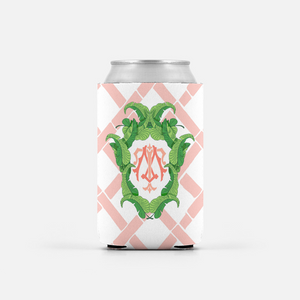 Set of 2 Coral Banana Leaf Custom Crest Can Coolers