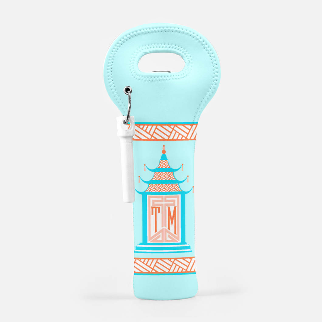 Royal Pagoda, Moonstone, Wine Carrier with Cork Screw