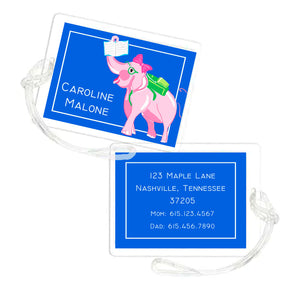 Academic Elephant Personalized Laminated Bag Tag
