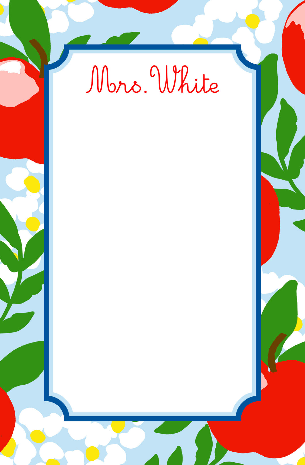 Apple Blossom Personalized Notepad, Multiple Sizes Available