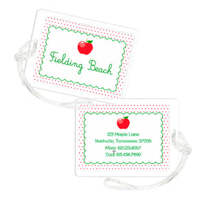 A is for Apple Personalized Laminated Bag Tag
