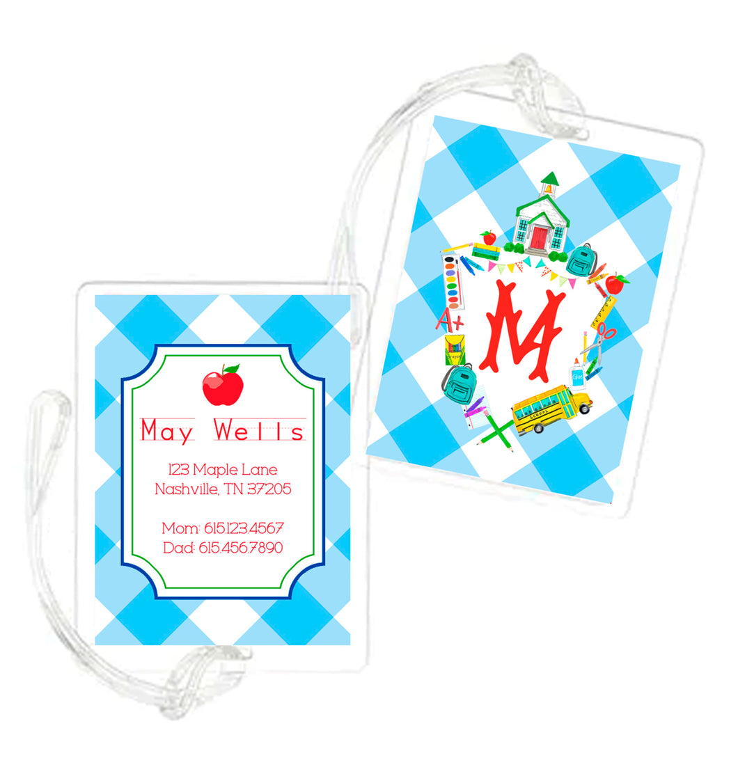 Back to School Crest Personalized Laminated Bag Tag