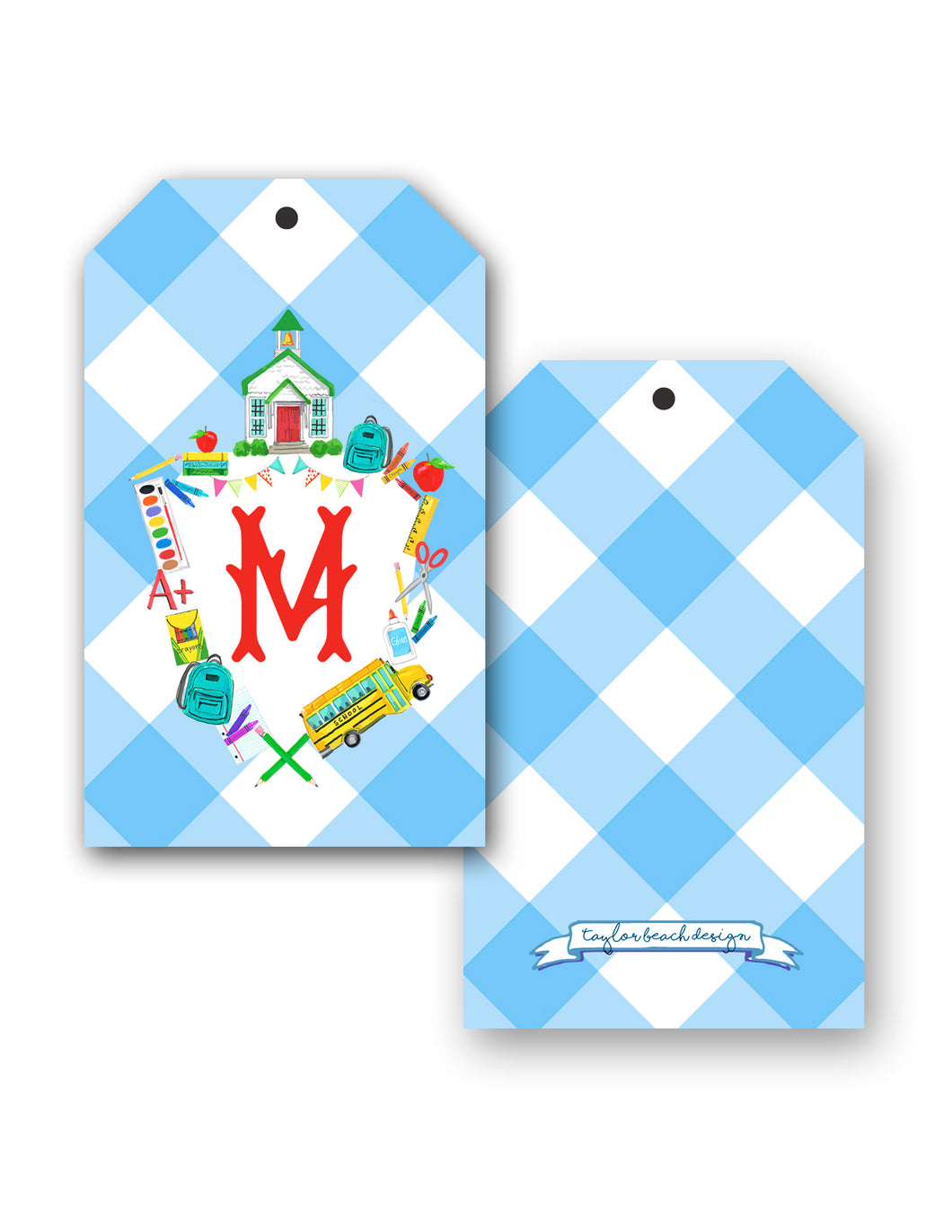 School Crest Personalized Hang Tags