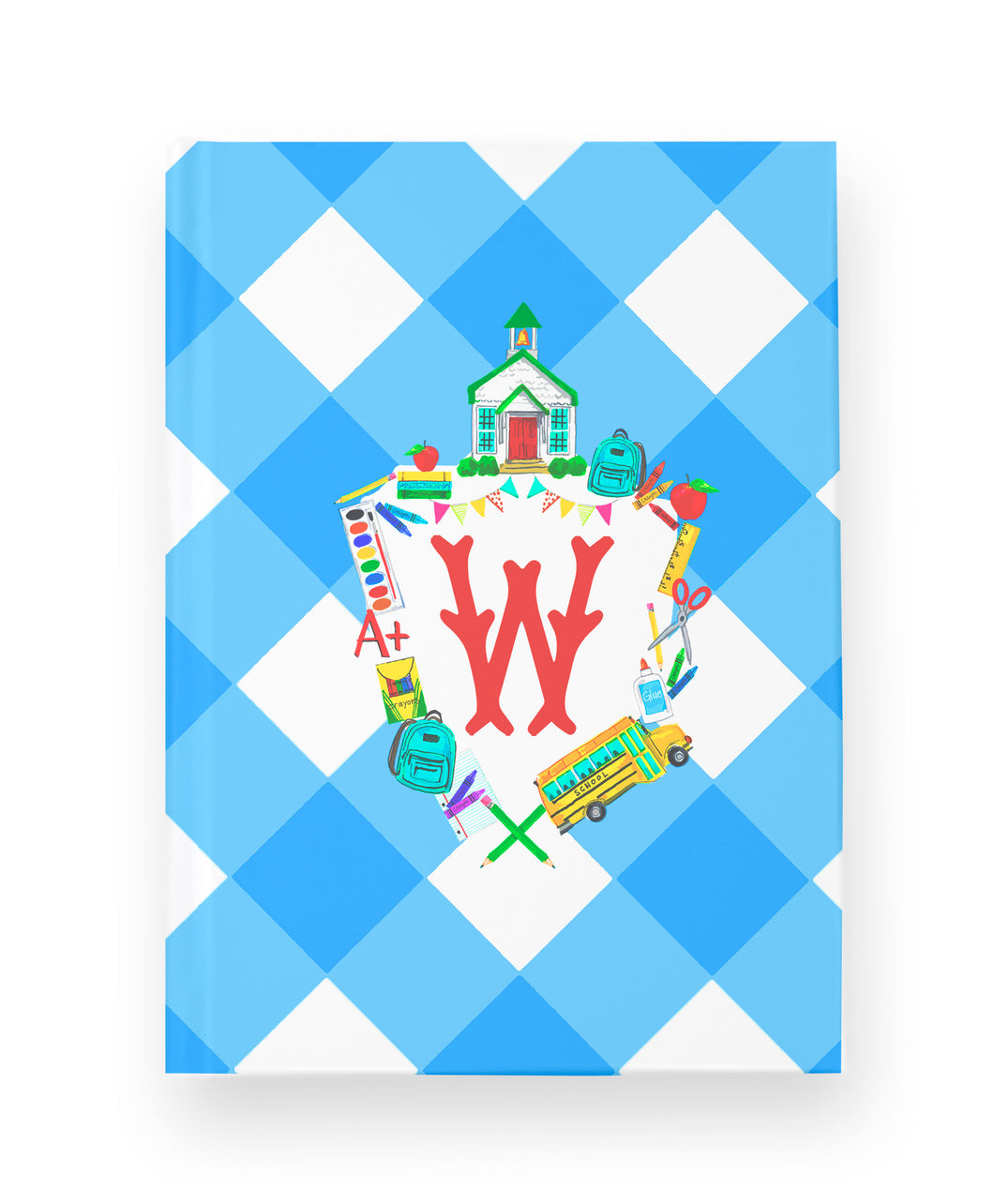 Back to School Personalized Custom Crest Hard Cover Journal
