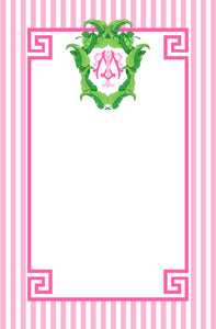 Banana Leaf Crest Personalized Notepad, Flamingo, Multiple Sizes Available