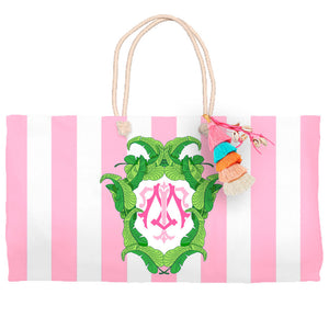 Banana Leaf Crest, Flamingo, Tote Bag