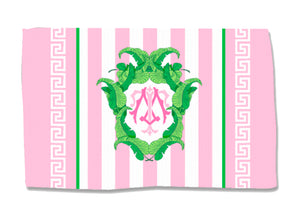 Pink Banana Leaf Crest - Coral - Lightweight Cotton Rug