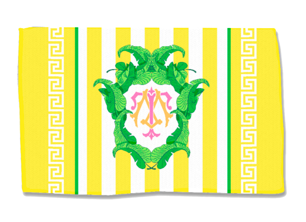 Yellow Banana Leaf Crest - Coral - Lightweight Cotton Rug