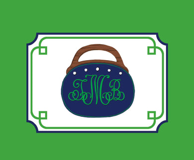 Bermuda Bag Personalized Folded Note Cards, Navy & Green