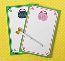Load image into Gallery viewer, Bermuda Bag Personalized Notepad, Navy & Green, Multiple Sizes Available