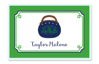 Bermuda Bag Children's Personalized Laminated Placemat, Navy