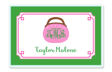Bermuda Bag Children's Personalized Laminated Placemat, Pink