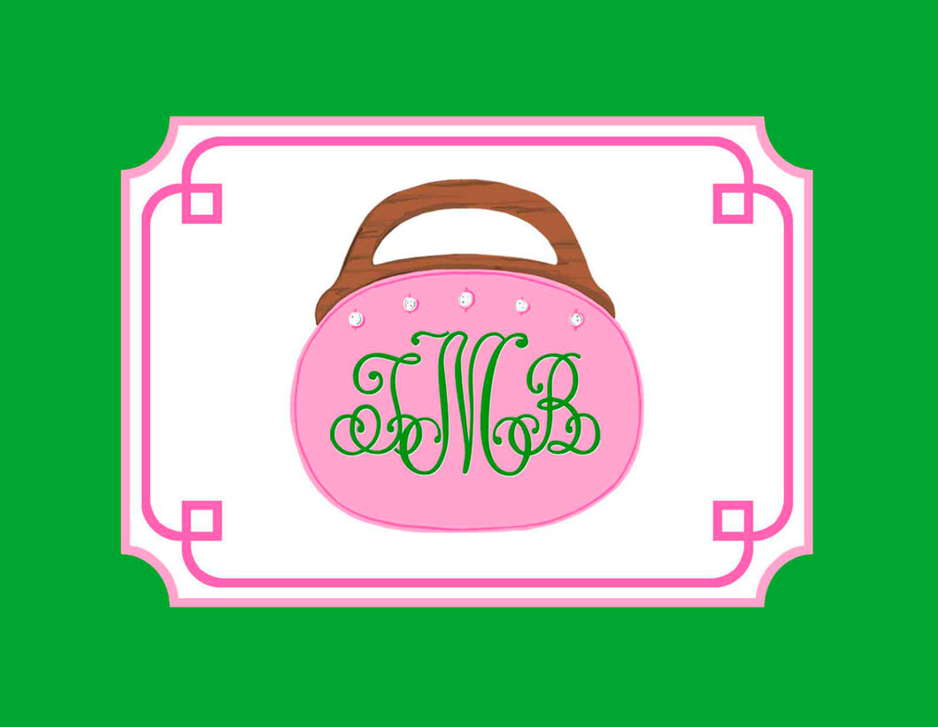 Bermuda Bag Personalized Folded Note Cards, Pink & Green