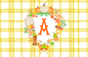 Custom Fall Crest Paper Tear-away Placemat Pad, Butternut