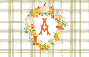 Custom Fall Crest Paper Tear-away Placemat Pad, Taupe